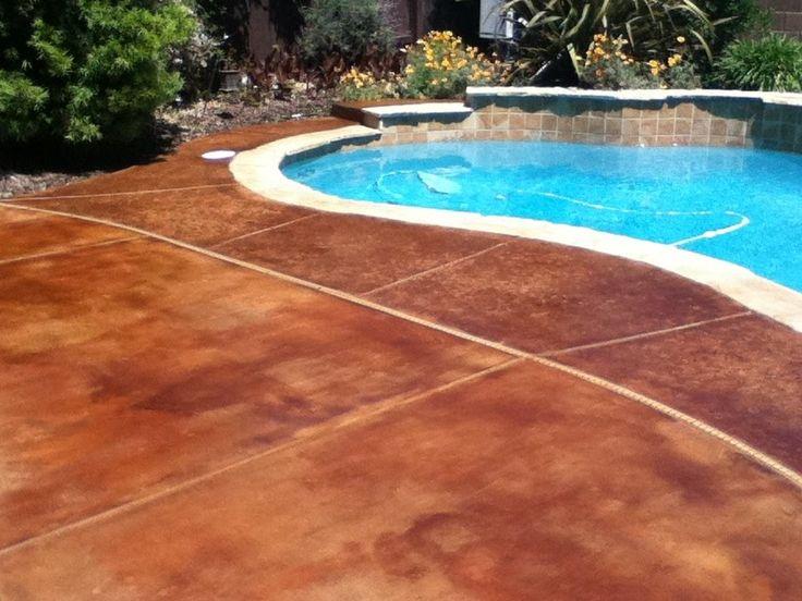 Painting Concrete, Concrete Staining, Stained Concrete, Concrete Backyard, Concrete  Patios, Outdoor Pool, Color Splash, Patio Paint, Backyard Ideas