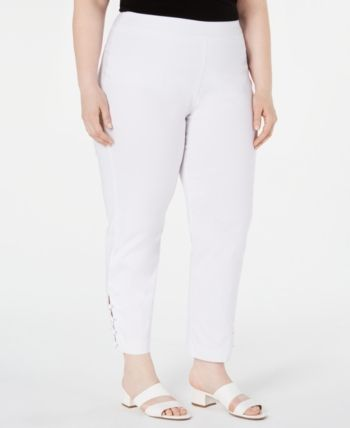 Plus Size Ankle-Laced Pull-On Pants, Created for 1