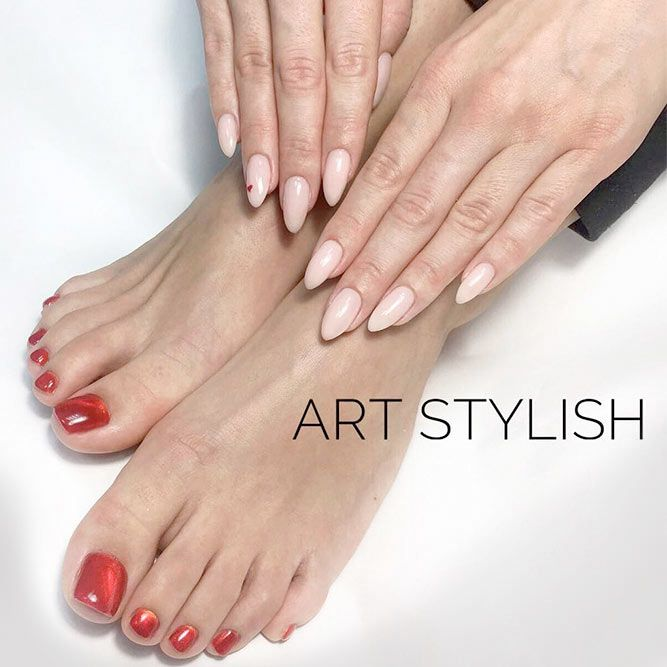 Learn How To Do Manicure and Pedicure In No Time ❤ Classic Red Manicure and Pedicure picture 1 ❤ We suggest to learn how to achieve that perfect look at home. What is more, we are more than willing to share with you the trendies shades to inspire from this season! Pick the one that suits you best! https://naildesignsjournal.com/manicure-and-pedicure-ideas/  #nails #nailart #naildesign  #toenails