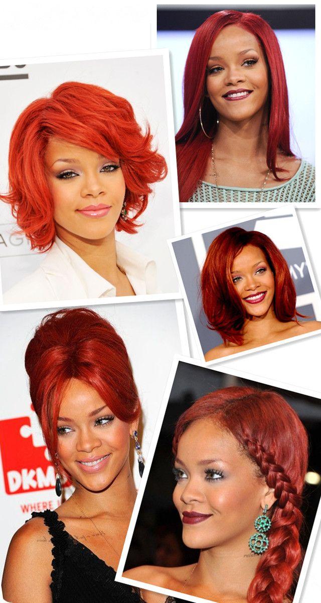 Rihanna rote Haare Frisuren - lange Haare, kurze Haare, hochsteck, bob und flechtenfrisuren