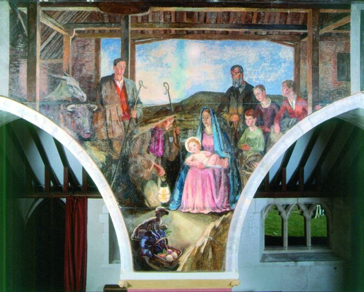 The Nativity by Vanessa Bell (1942), Berwick Church, East Sussex. Through the opening is the Sussex Downs, the outline of which resembles that of Mount Caburn.