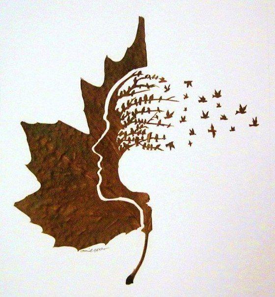 Арт из листьев