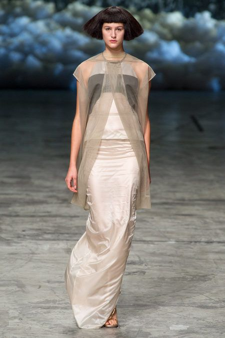 It's amazing how he can transform the same silhouette by merely playing with colors and shapes. #SS2013 #PFW #RickOwens