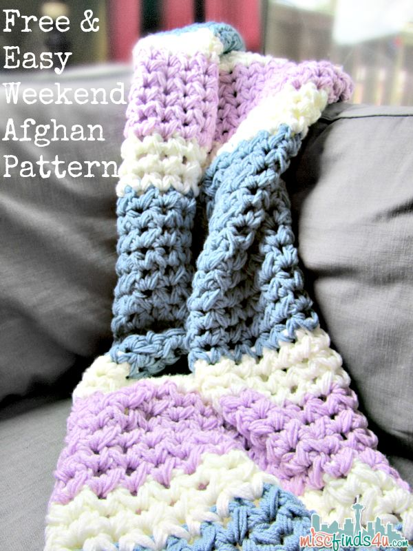 Easy Weekend Afghan Free Crochet Pattern made with a Hdc2tog stitch to create and open weave and soft blanket to enjoy year round.