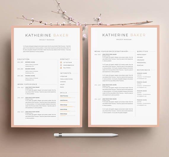 Modèle de CV KATHERINE moderne & Lettre de