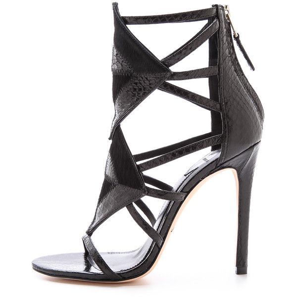 B Brian Atwood Luanna Caged Sandals - Black/Black found on Polyvore