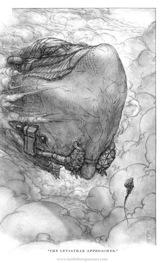 The Leviathan Approaches by Keith Thompson, ~Keithwormwood on deviantART | Illustration from _Leviathan_ by Scott Westerfeld