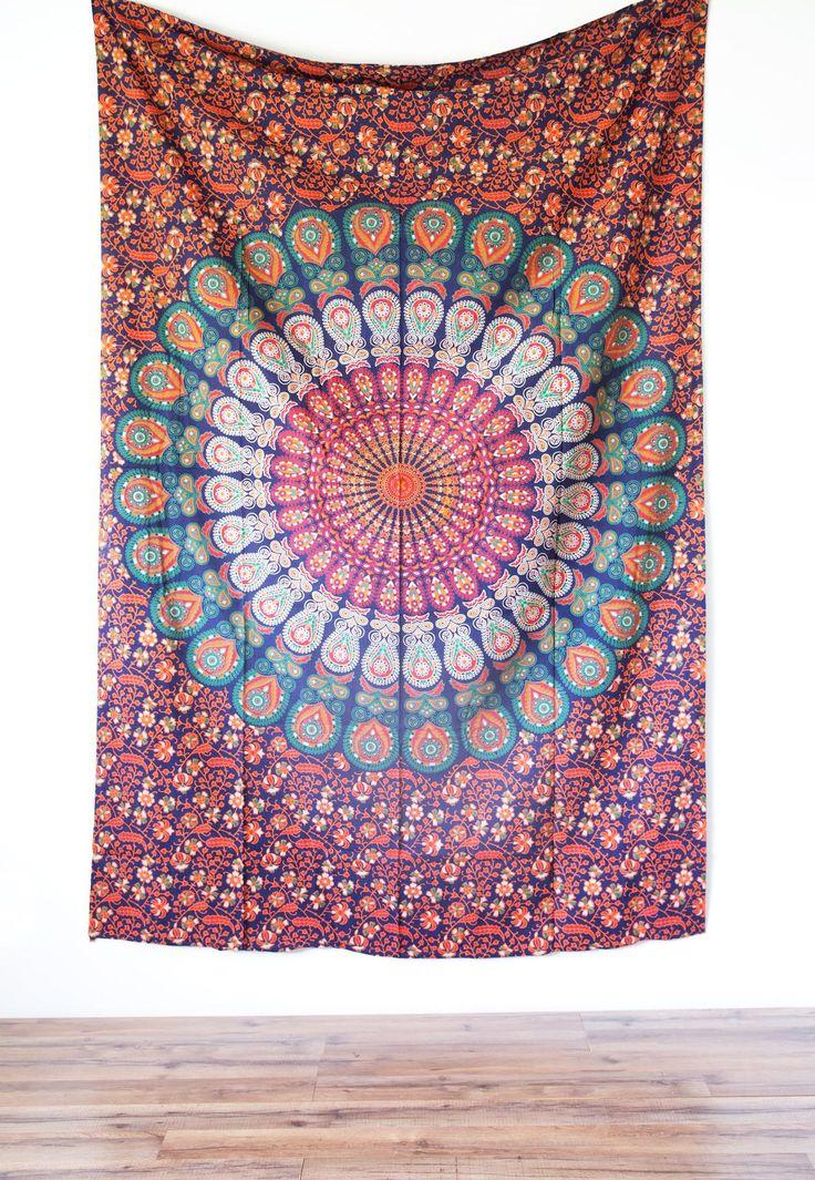 Small Orange & Navy Mandala Tapestry from The Bohemian Shop