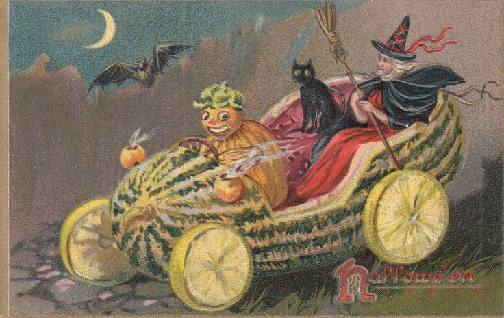 Halloween Postcard Witch Black Cat in Watermelon Car Driven by Humanized Gourd