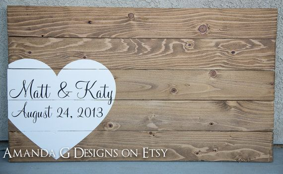Personalized wood sign Wedding guest book alternative with wrap around heart on Etsy, $75.00