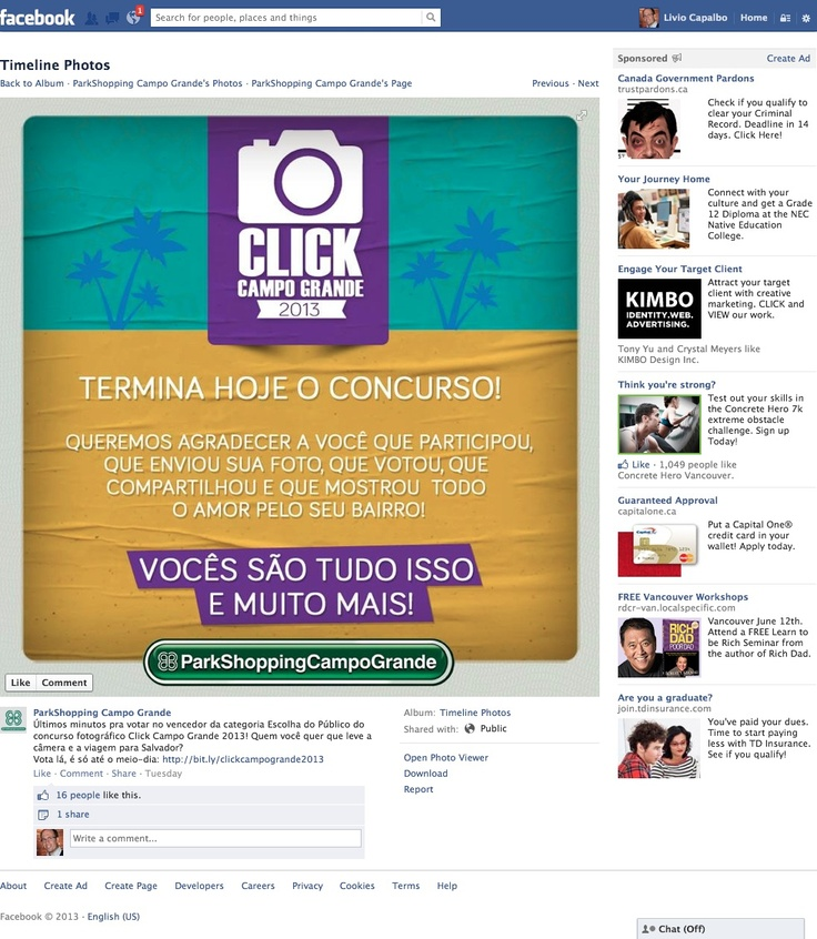 Última chamada para o Concurso de fotos na Fanpage do Park Shopping Campo Grande