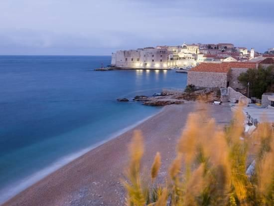 Dawn View of Beach, Harbour and Waterfront of Dubrovnik Old Town, Dalmatia, Croatia, Europe Photographic Print by Martin Child at Art.com