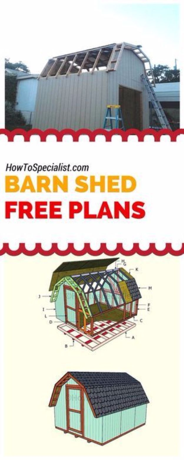 DIY Storage Sheds and Plans - 10x16 Barn Shed Plans - Cool and Easy Storage Shed Makeovers, Cheap Ideas to Build This Weekend, Basic Woodworking Projects to Add Extra Storage Space to Your Home or Small Backyard - How To Build A Shed With Pallets - Step by Step Tutorials and Instructions http://diyjoy.com/diy-storage-sheds-plans
