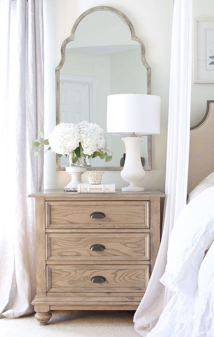 Natural Neutral Master Bedroom Nightstand Decor Nightstand Decor