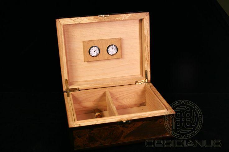 Cigar Box (Humidor) Hand Made / Semiprecious Natural Obsidian Stone / Dark Mahogany Color