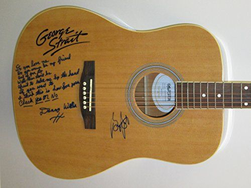 GEORGE STRAIT & DANNY WELLS Signed Autograph Acoustic Guitar w/ Check Yes Or No Lyrics Country Music. Great Addition to your Music Memorabilia Collection. Signed and Authentic. Full Size Galveston Acoustic Guitar. AUTOGRAPH~	George Strait & Danny Wells. Is Autographed?: 1. You Will get either a Letter Of Authenticity or a Certificate of Authenticity. COA~	Music Row Autographs. Signed On~	body Of Guitar. Maker: George Strait & Danny Wells. AUTHENTICATION (COA) We offer Certificate of...