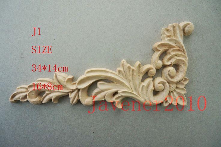 J1 16 8cm Rubber Wood Carved Carving Corner Onlay