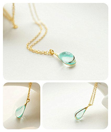 Frozen Mermaids Tear Crystal Ice Cyan Colored Glaze Pendant for Ariel Platinum Plated Sterling Silver/ 14K Gold Chain Fairy Tale Necklace  This