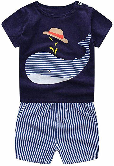 8d316e714ad2e Amazon.com  Toddler Baby Boys Girls 2PCs Clothes Short Sleeve Cartoon Print  Tops Shirt+Short Pants Outfits Set (Blue