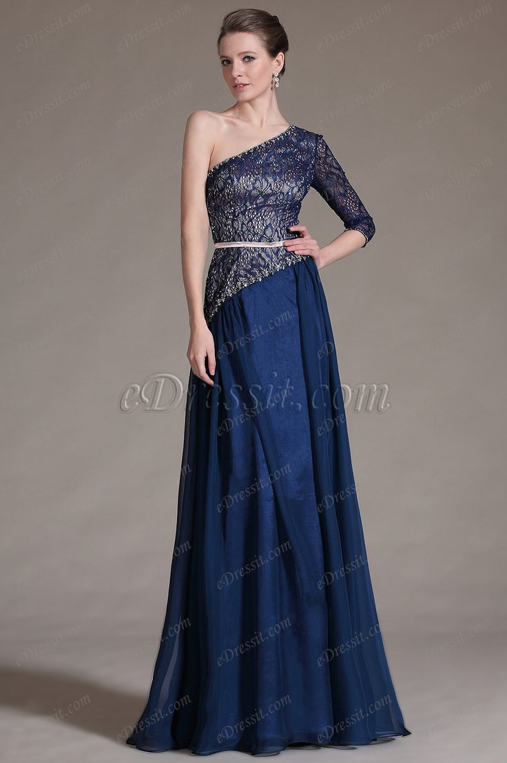 eDressit 2014 New Navy Blue One Sleeve Lace Top Evening Dress Prom Ball Gown (00146905)
