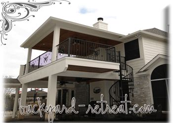 Two Story Balcony Backyard Retreat Com Backyard