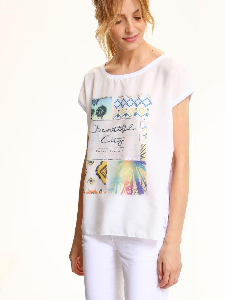 Comanda online, Bluza dama casual cu croi larg Top Secret alba cu print. Articole masurate, calitate garantata!