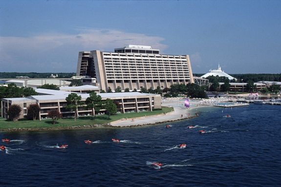 Walt Disney World's Contemporary Hotel.   In 1979 we rode one-person speedboats in the lake. What fun!!!     My partner at the time would not remember this fun day.