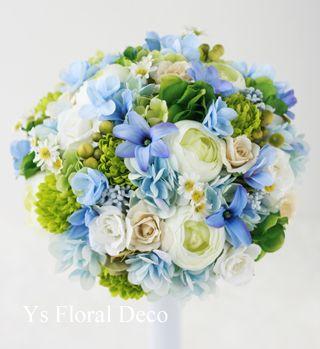 水色、白、緑のラウンドブーケ アーティフィシャルフラワー  ys floral deco  @ハワイ