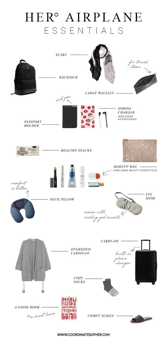 AIRPLANE ESSENTIALS: Carrying a bag around the airport requires everything to be light weight. Airplanes are usually cold and layers are a must. Plus, with travel plans always in flux, packing other essentials like a good moisturizer, a travel toothbrush, and plenty of snacks can all be a complete life changer. DOWNLOADABLE PACKING LIST FOR YOUR NEXT TRIP UP ON THE WEBSITE!
