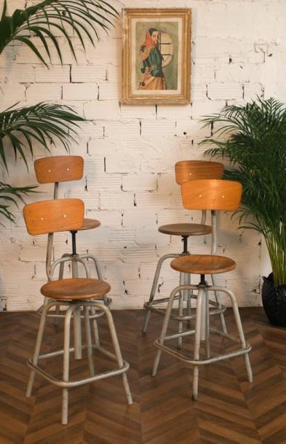 Chaises vintage hautes industrielles 50 1950 50s - Chaise de dessinateur ...