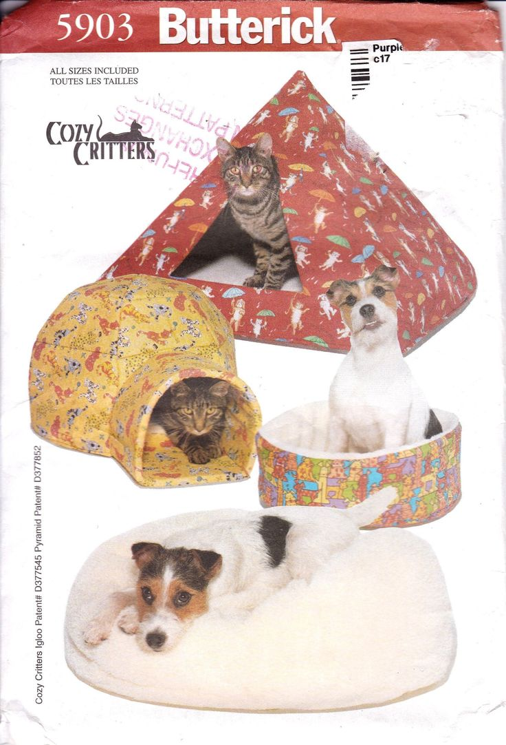 Butterick 5903, Cozy Critters, Cat Beds and Dog Beds, Tent