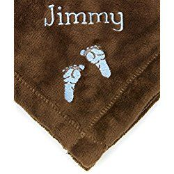PERSONALIZED Monogrammed Embroidered BABY FEET Tahoe Fleece Blanket~ Make it Special! (Brown)