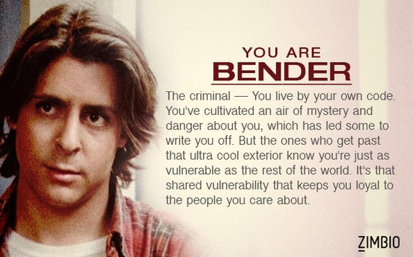 I took Zimbio's 'Breakfast Club' quiz and I'm Bender! Who are you?