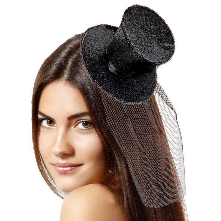 Tiara hoedje zwart glitter.
