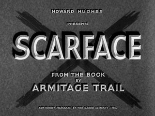 "Howard Hughes, Scarface, 1932. See the amazing Paul Muni take over the North Side and shoot his way to the top.  ""Watch out, I'm gonna spit!!"""
