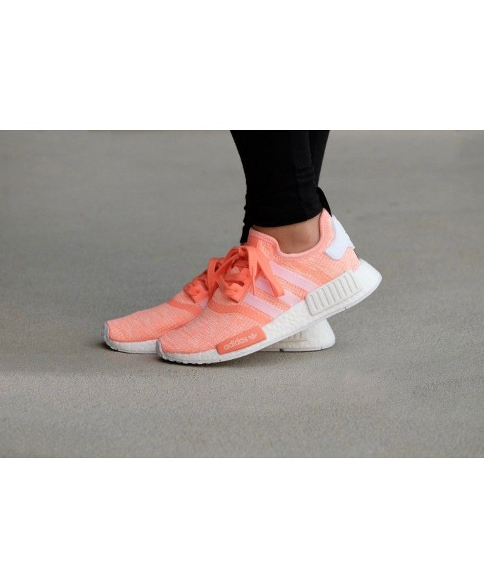 d7834dc16 Adidas NMD R1 Womens Sun Glow Salmon Pink White Shoe
