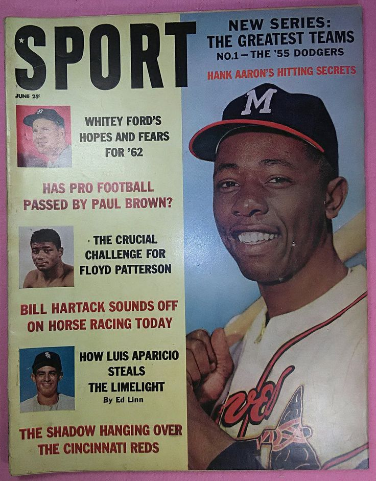 Hank Aaron Cover, SPORT Magazine, June 1962, Floyd Patterson, Luis Aparicio, Whitey Ford, Hitting Secrets, Atlanta, Milwaukee,  Braves by Eclectiquesdotorg on Etsy
