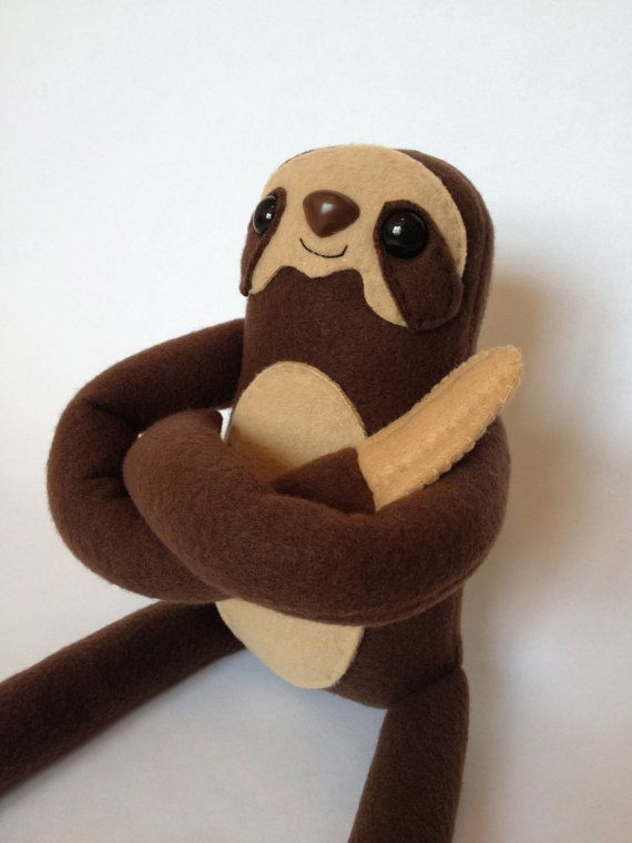 Three Toed Sloth Plush Toy - Brown - Large Stuffed Animal - Handmade - Gift for Him - Gift for Her