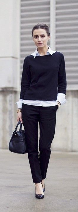 white blouse, black sweater, black #casual