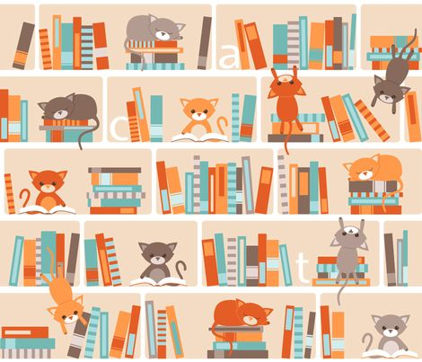 Library cats fabric by heleenvanbuul on Spoonflower - custom fabric ~ NUMBER 3 of the Library Design Contest on Spoonflower. Congratulations Heleen!