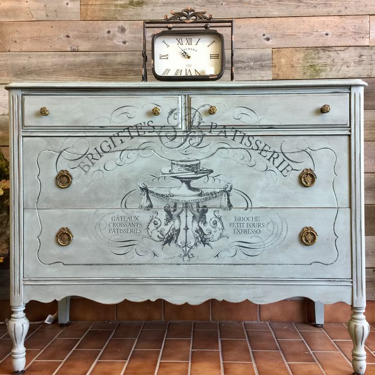 Duck Egg Chalk Paint™ with Iron Orchid Designs Transfer. Available at The Painted Bench in Hamilton Ontario