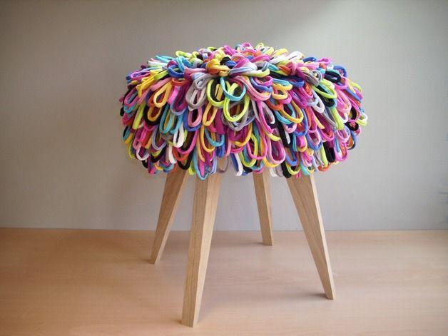 Ausgefallener Hocker mit bunten Loops / funny chair, loop yarn, woolen seat by MySoul via DaWanda.com