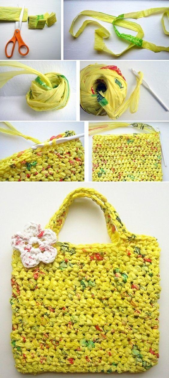 Haken Met Plastic Zakken Diy Herbruikbare Draagtassen Crochet