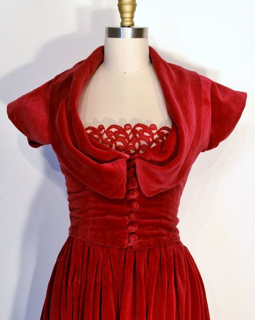 etsy craneberry red Vintage 1940s Dress- 40s Evening Gown