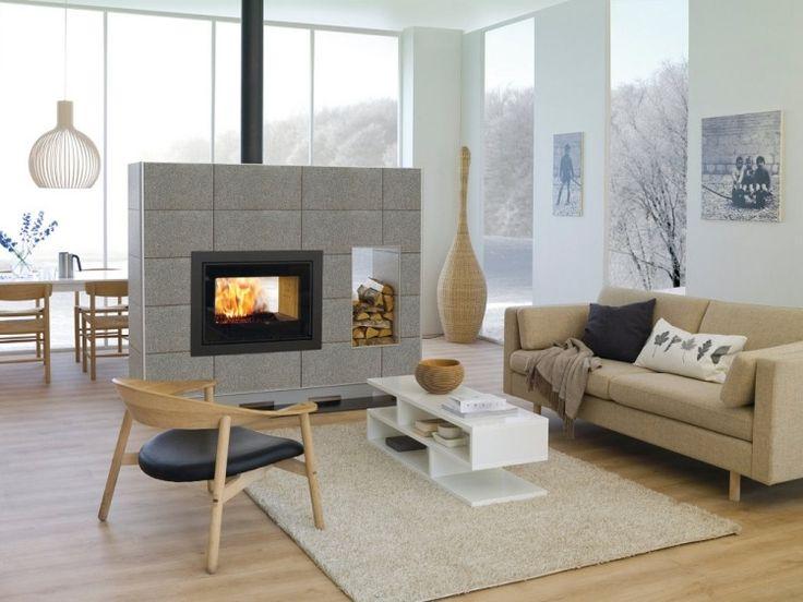 Modernes Wohnzimmer Doppelseitiger Kamin Raumteiler Neutrale Farben (