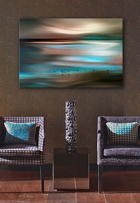 "Beautiful abstract art of birds against a background of warm and cool tones swirling across a horizon at dusk. ""Migrations"" gallery wrap canvas print by Ursula Abresch, available for purchase at GreatBIGCanvas.com."