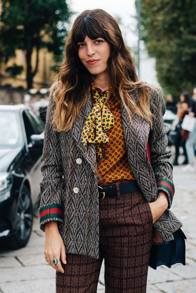Street Style_heritage outfitting with pattern blazer and cravat print blouses | Saved by Gabby Fincham |