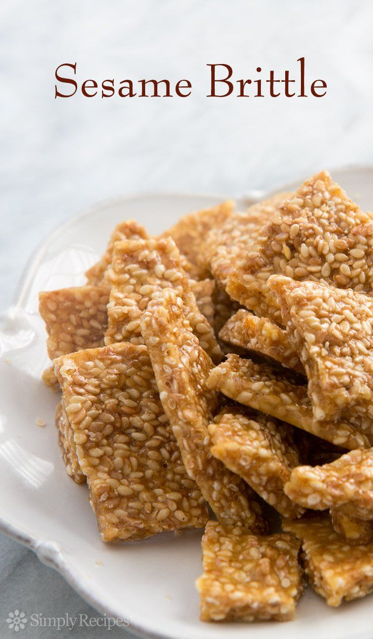 Sesame Brittle ~ Crunchy sesame brittle, so easy to make! With sesame seeds, sugar, and honey. ~ SimplyRecipes.com