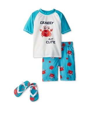58% OFF Wippette Kid's 2-7 Crabby Short & Rash Guard Set (seaport)