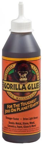 Gorilla Glue 50018 Multi-Purpose Waterproof Gorilla Glue Adhesive 18-oz Bottle by Gorilla Glue. $16.09. Gorilla Glue has always helped you get the job done right the first time. Gorilla Glue bonds materials other adhesives simply can't - Bonds exotic and common woods, as well as ceramics, plastic, , foam, glass, metals, and stone to wood. And it's still the best glue for anyone who wants the job done right. Gorilla Glue cures with exposure to moisture in the wood and atmosph...